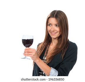 Portrait of young woman tasting sampling red wine alcohol drink isolated on a white background
