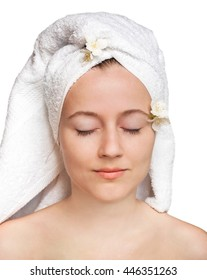 portrait of young woman with towel on head ready for Spa treatments