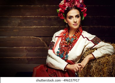 Portrait of young woman in traditional ukrainian style