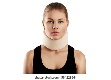 5a8e6375901e Portrait of young woman wearing neck collar. Concept of cervical sprain and  therapy.