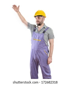 Portrait of Young Worker with Helmet Isolated on White Background