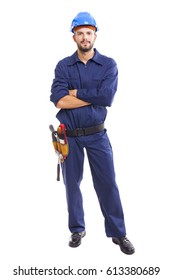 Portrait of a young worker standing on white background