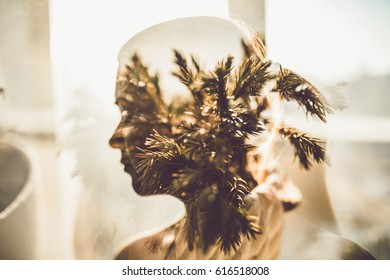 portrait,portrait of girl with multiply exposure