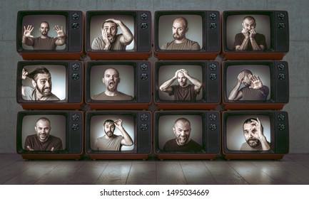 Porträts von 3 verschiedenen Menschen mit verschiedenen Ausdrücken und Emotionen, Bilder auf alten TV.Interior mit Holzboden.