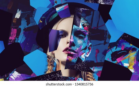 Portraits of blonde woman in hat and colorful body art woman