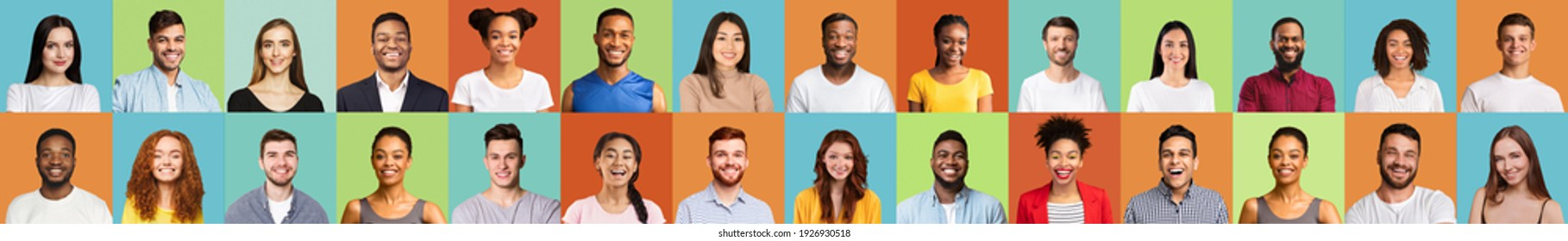 Portraits Collage With Happy People Faces Of Different Race And Age Smiling On Colored Studio Backgrounds. Set Of Multiethnic Millennials Headshot Images, Diversity Concept. Panorama