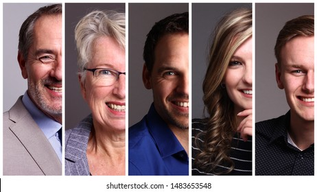 Portraits of different people in front of a grey background