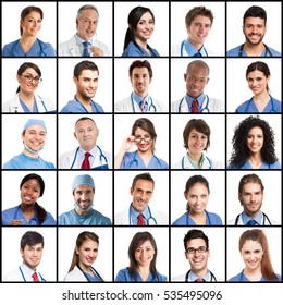 Portraits of a lot of doctors and medical workers