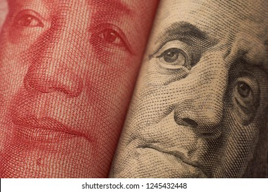 Portraits Franklin and Mao which symbolising standoff and trade war between two political and economic systems.   Summit meeting.  Illustrate an articles about economics. Dollar.