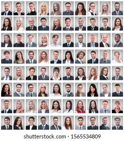 portraits of a group of successful employees isolated on white
