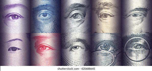 Portraits / images / the eyes of famous leader on banknotes, currencies of the most dominant countries in the world i.e. Japanese yen, US dollar, Chinese yuan, Australian dollar. Financial concept.