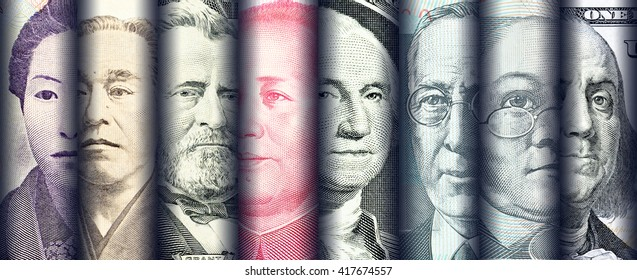 Portraits / images / faces of famous leader on banknotes, currencies of the most dominant countries in the world i.e. Japanese yen, US dollar, Chinese yuan, Australian dollar. Financial concept.