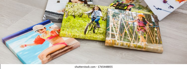 portraits of a little girl on a canvas photo