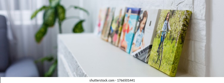 portraits of a little girl on a canvas photo - Shutterstock ID 1766501441