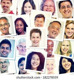 Portraits Of Multi-Ethnic Smiling People