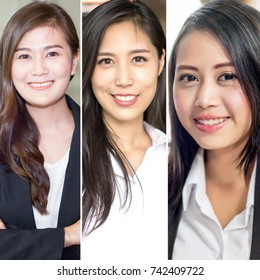 Portraits of smiling business women, Happy group Asian business woman