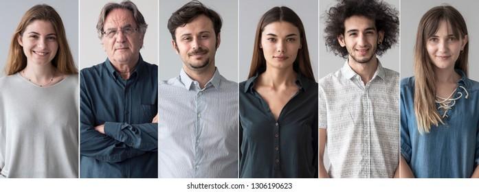 Porträts von lächelnden Menschen Collage