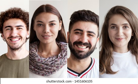 Portraits of smiling people collage