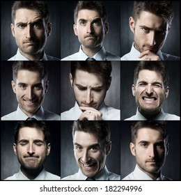Portraits of a young businessman. Various images in a collage