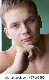 Portraits of a young men close