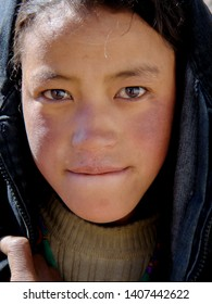 Portraits of young Tibetan Girls and Boy at the Village of Tibet near Lhasa on June 2004