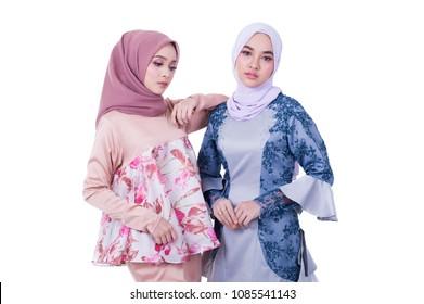 Portraiture of beautiful young female model wearing hijab.Muslim female hijab fashion portraiture.