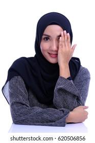 Portraiture of beauty Asian woman. Muslim woman portrait.