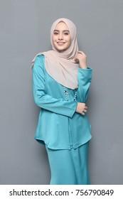 Portraiture of Young Girl Model wearing Hijab.Beautiful Hijab Fashion indoor photoshoot.