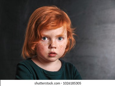 Portrat of serious child. toddler little red hair girl with blackboard on background.  Back to school. - Shutterstock ID 1026185305