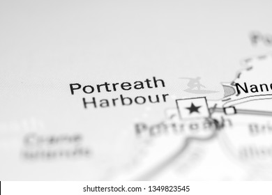 Portreath Harbour. United Kingdom on a geography map
