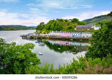 Portree is the capital and largest town on The Isle of Skye in the Inner Hebrides of Scotland, United Kingdom. Portree has a harbour, fringed by cliffs, with a pier designed by Thomas Telford.