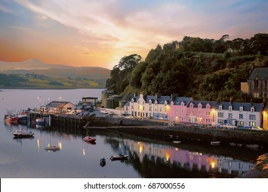 Portree in sunrise view is the largest town on Skye in the Inner Hebrides of Scotland.