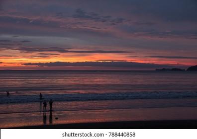 Portrero Beach at sunset. Costa Rica. November 2017