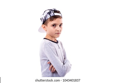 Portret of adorable boy isolated on white background