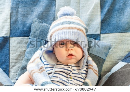7ce28f4e287 Portret Funny Baby Boy Warm Hat Stock Photo (Edit Now) 698802949 ...