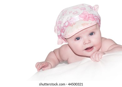 portret of pretty baby izolated on white