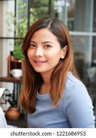 portriat of Asian girl in cafe