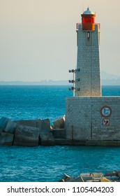 Port's lighthouse in Nice, french riviera, cote d`azur, South France