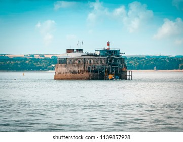 Portsmouth, England - July 18, 2018: Spitbank Fort or Spitsand Fort located in the Solent near Portsmouth, One of 3 Victorian sea defences built in 1878.