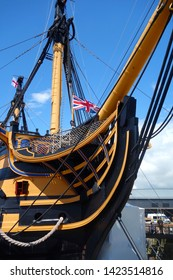 PORTSMOUTH, ENGLAND MAY 1, 2019: HMS Victory is a 104-gun ship of the line of the Royal Navy,  launched in 1765. She is best known for her role as Lord Nelson's flagship at the Battle of Trafalgar.