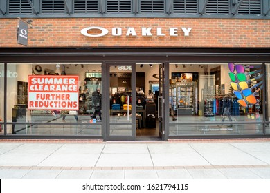Portsmouth, Great Britain - November 3, 2019: Entrance to Oakley shop in modern shopping mall