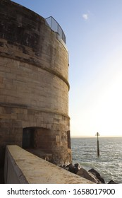 Portsmouth, Hampshire, England - January 19th 2020: The historic Round Tower over looking the entrance to Portsmouth Harbour. Part of the medieval harbour defences built on Portsmouth Point.