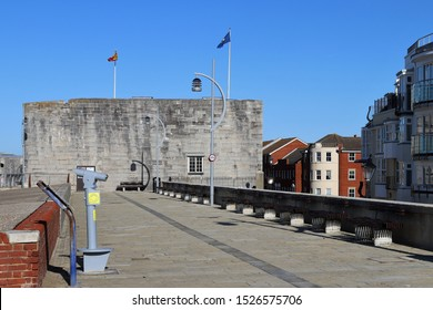 Portsmouth, Hampshire, England - October 2nd 2019: The Square Tower, part of Portsmouth's historic fortifications in Old Portsmouth.  Built in 1494 to defend the city and harbour. Grade 1 listed.