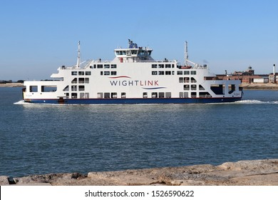 Portsmouth, Hampshire, England - October 2nd 2019: Wightlink Ferry, St Claire, approaching Gunwharf Terminal in Old Portsmouth on a morning sailing from Fishbourne. Built in 2001 and refitted in 2015.