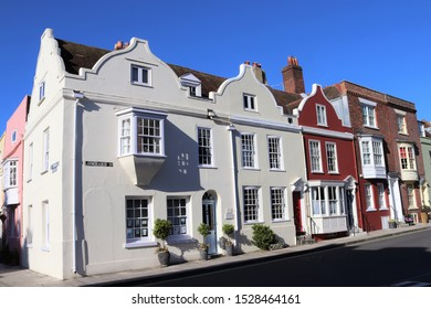 Portsmouth, Hampshire, England - October 2nd 2019: Fine examples of listed 17th century Merchants Houses in Lombard Street, Old Portsmouth, near the Cathedral and the historic Camber Dock area.