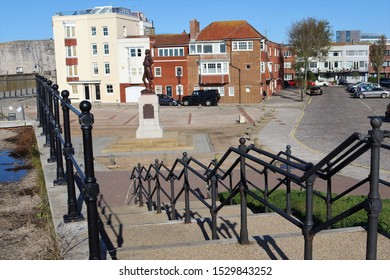 Portsmouth, Hampshire, England - October 2nd 2019: Grand Parade, Old Portsmouth, showing steps leading down  from the saluting platform towards the Statue of Admiral Lord Nelson.