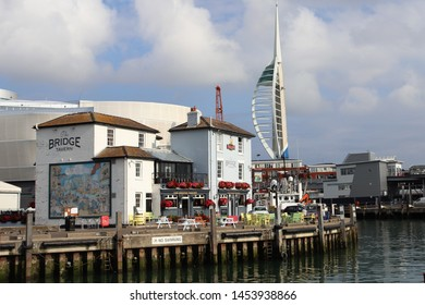 Portsmouth, Hampshire, England-July 14th 2019: The Camber Docks, Portsmouth's oldest commercial docks , located in the heart of Old Portsmouth, showing The Bridge Inn and surrounding quayside area.