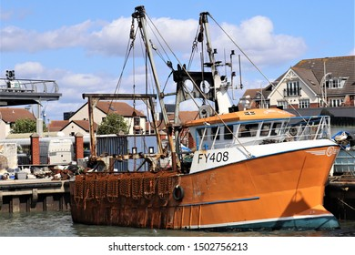 Portsmouth, Hampshire, England-September 4th 2019: Le Men Du, a pocket trawler from the capability fleet, usually based in the Cornish fishing grounds but pictured here at the Camber Dock, Portsmouth.