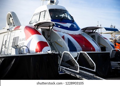 Portsmouth, Hampshire, UK November 13 2018 Hovertravel Hovercraft Island Flyer awaiting the embarkation of passengers before travelling to Ryde, Isle of Wight