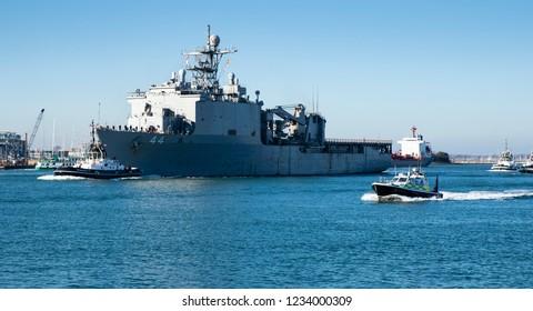 Portsmouth, Hampshire, UK November 18 2018 USS Gunston Hall leaving the harbor en route to Ouistreham, France